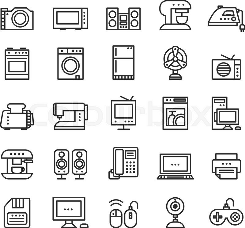 800x744 Home Appliances And Equipment Icons Vector Modern Line Style