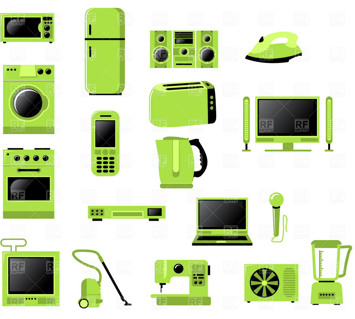 1200x1078 Domestic Appliances Icons Vector Image Vector Artwork Of