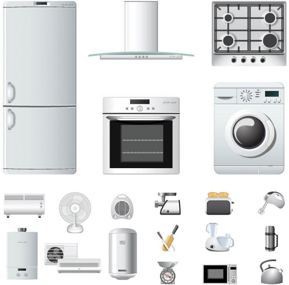 591x583 Household Appliances Icons Vector Free Vector In Encapsulated