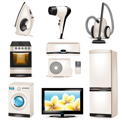 500x500 Realistic Household Appliances Vector Illustration 03 Free Download