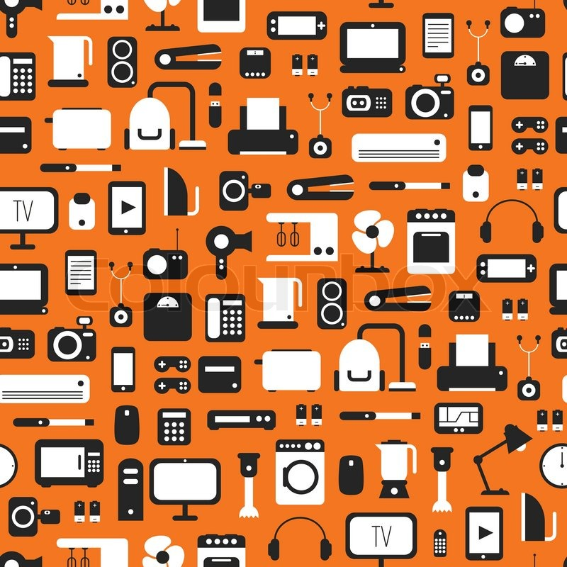 800x800 Seamless Pattern Of Electronic Devices And Home Appliances