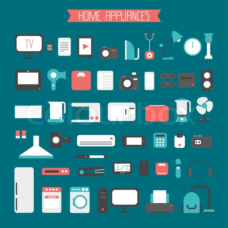 800x800 Set Of Electronic Devices And Home Appliances Colorful Icons In
