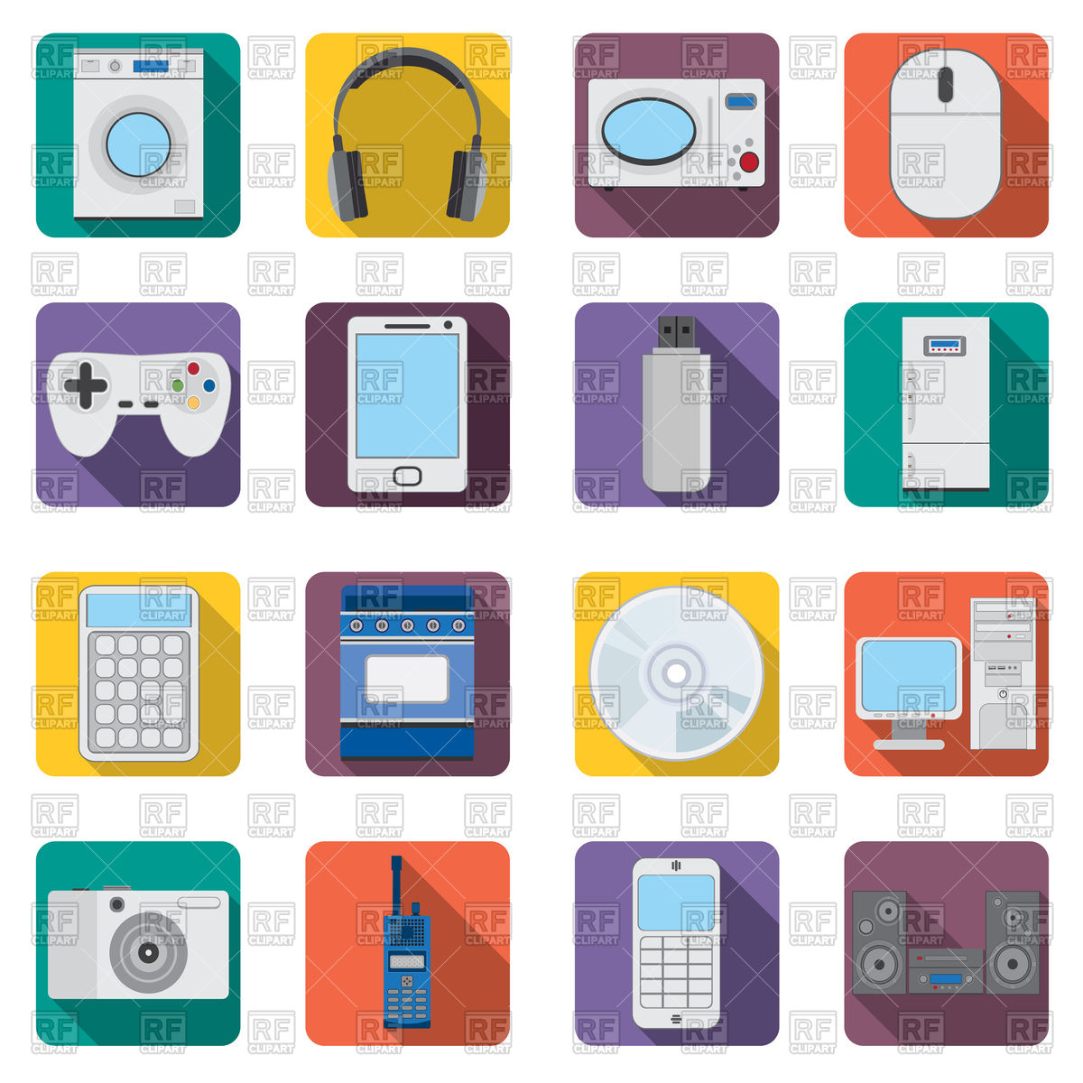 1200x1200 Set Of Flat Home Appliances And Electronic Devices Icons Vector