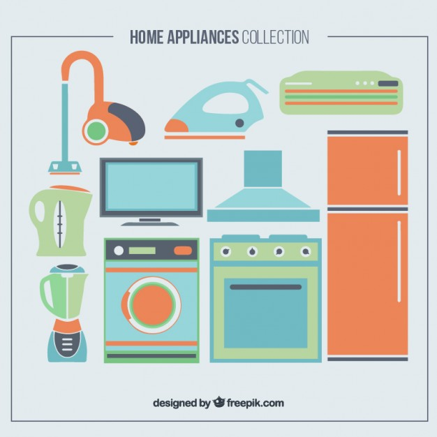 626x626 Set Of Home Appliances In Colors Vector Premium Download