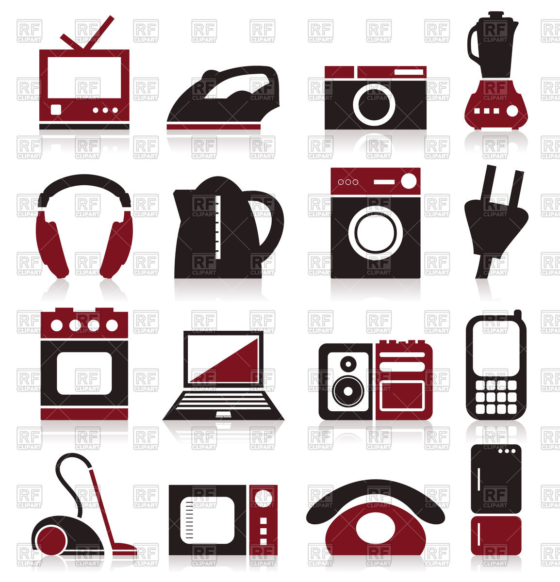 1154x1200 Set Of Home Appliances Theme Icons Vector Image Vector Artwork