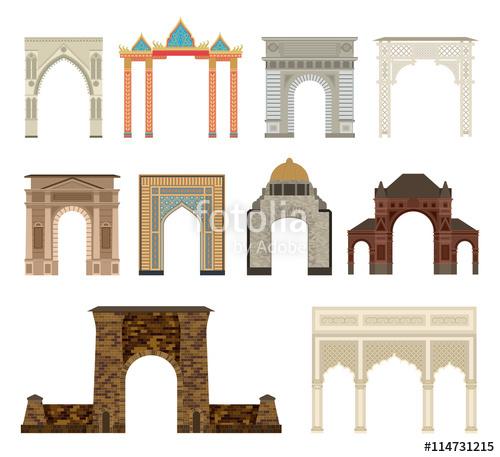 500x457 Arch Vector Set Architecture Ancient Frame Arch. Column Entrance