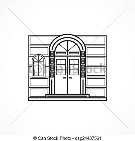 450x470 Facade Arch Door Black Line Vector Icon. Black Flat Line Vector