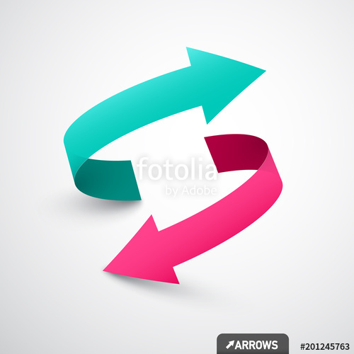 500x500 Arrows Logo Concept. Double Arrow Symbol. Vector 3d Icon. Stock
