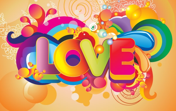 600x380 Free Download Of Colorful Love Background Vector Art Vector