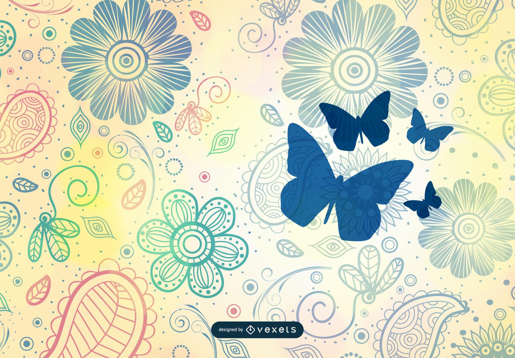 1701x1184 Vintage Flower Pattern Background Vector Art