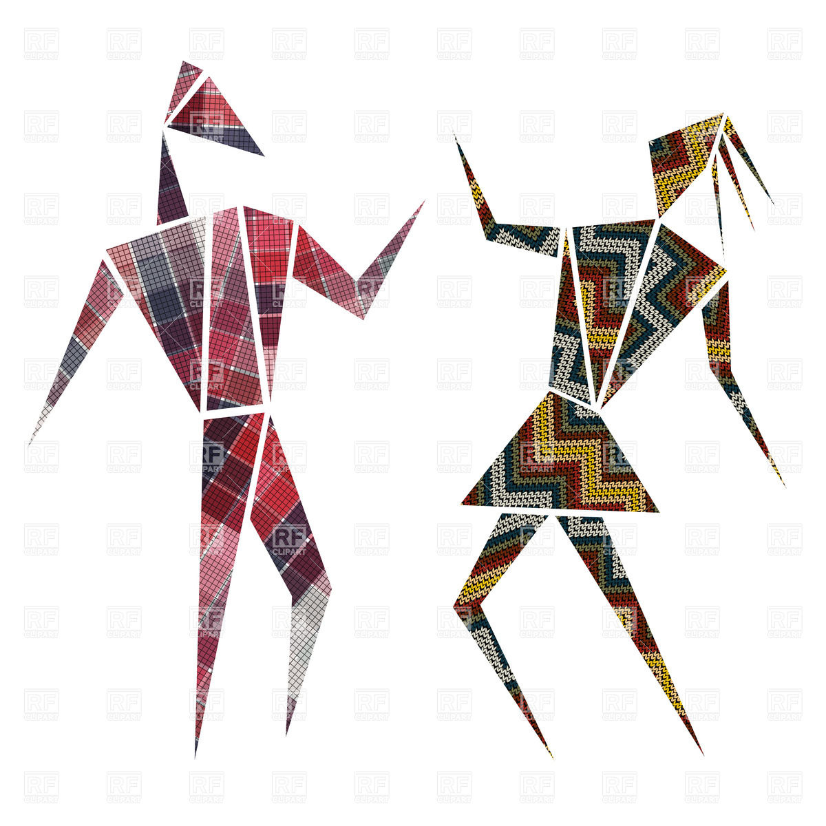 1200x1200 Abstract Design Dancing Characters Over White Vector Image