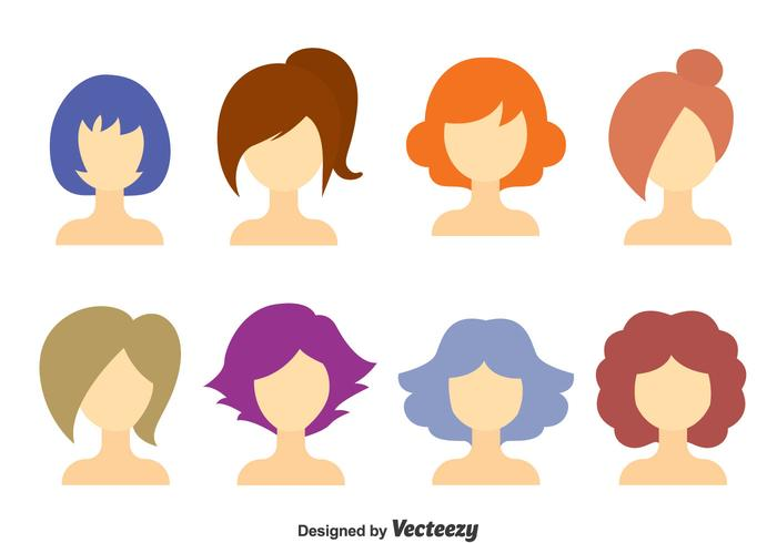 700x490 Girl Hair Style Collection Vector
