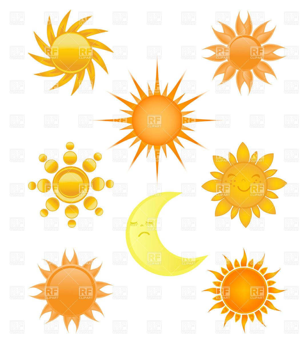 1050x1200 Sun And Moon. Collection Of Different Designs Vector Image