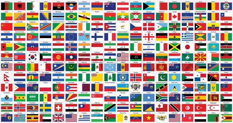 800x425 Alphabetical World Flags Complete Collection, Isolated On Gray