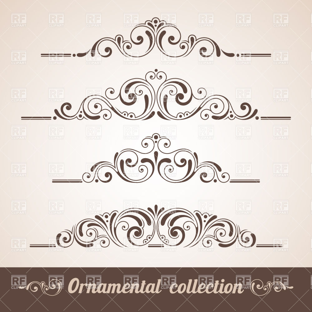 1000x1000 Vintage Curly Ornaments Collection Vector Image Vector Artwork