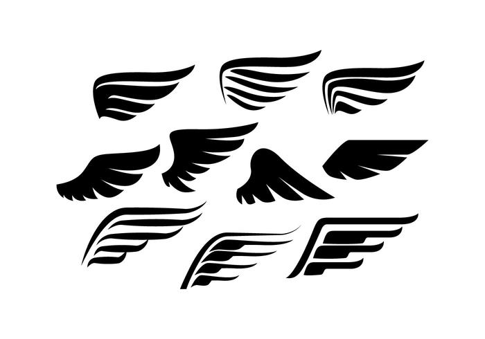 700x490 Wings Collection Silhouette Vector