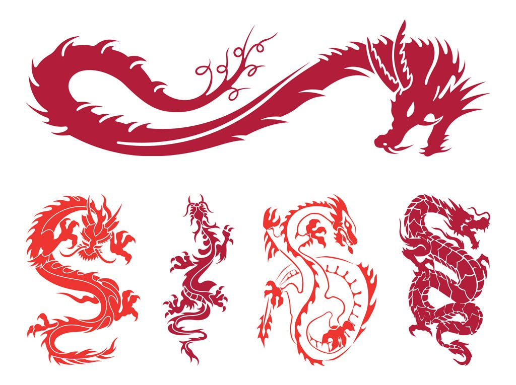 1024x765 Dragons Set Graphics Vector Art Amp Graphics