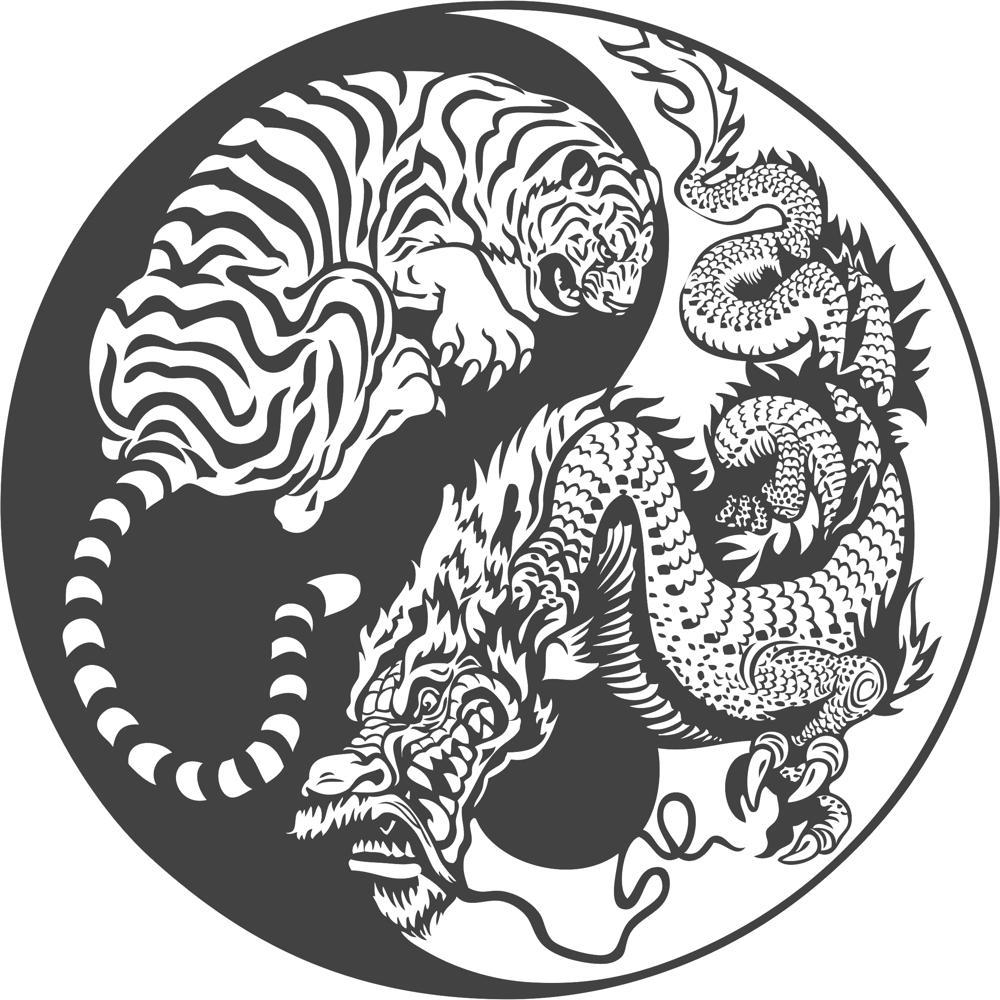 1000x1000 Tiger Dragon Yin Yang Vector Art Free Vector Download