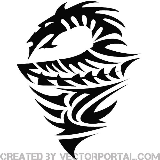 660x660 Tribal Dragon Illustration Free Vector 123freevectors