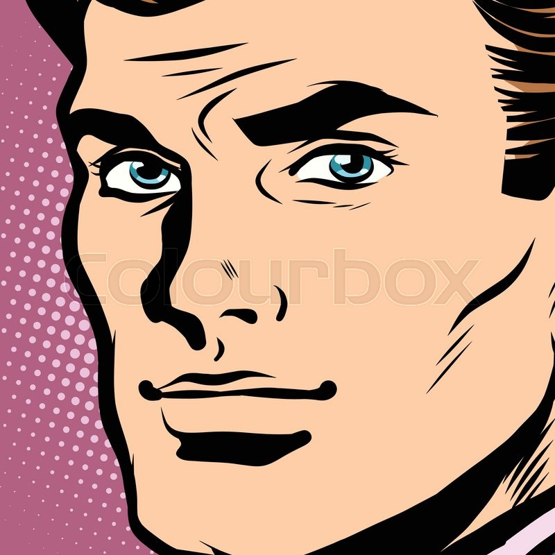 800x800 Male Face Profile Close Up Pop Art Retro Vector. Face Businessman
