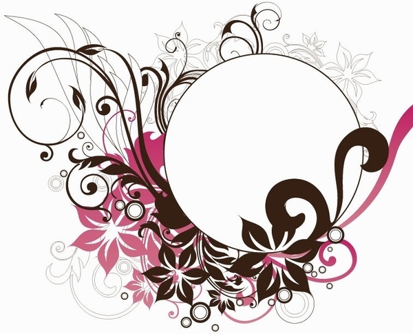 600x485 Circle Frame With Floral Decorations Vector Graphic Free Vector In