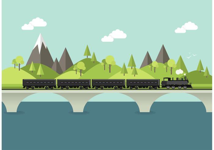 700x490 Steam Train In Landscape Vector