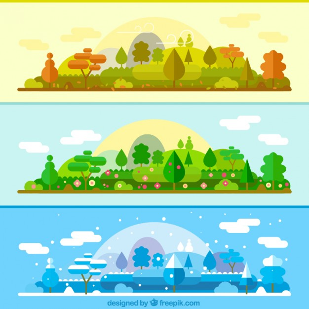 626x626 The Same Landscape In Different Seasons Banners Vector Free Download