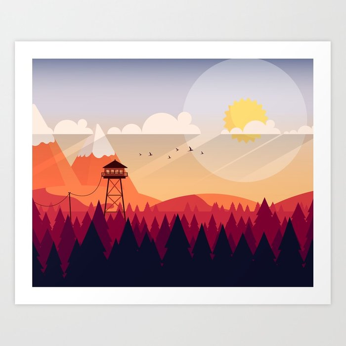 700x700 Vector Art Landscape With Fire Lookout Tower Art Print By
