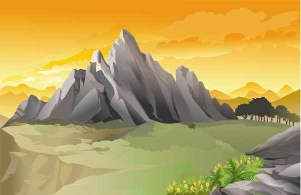 600x389 Beautiful Landscape 01 Vector Free Vector In Encapsulated