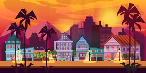 500x250 City Building Landscape Vector Graphic 03 Free Download