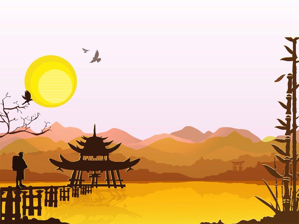1024x768 Eastern Landscape Vector Art Amp Graphics