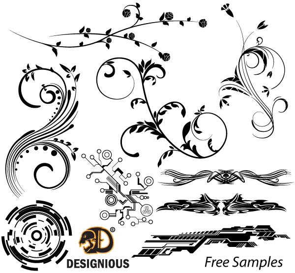 600x555 Free Free Vector Samples Floral, Tech Shapes And Tribal Designs