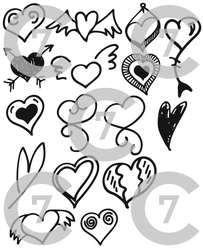 800x988 Heart Shape Vector Art Pack Set Of 17! Hand Drawn Amp Vectorized.
