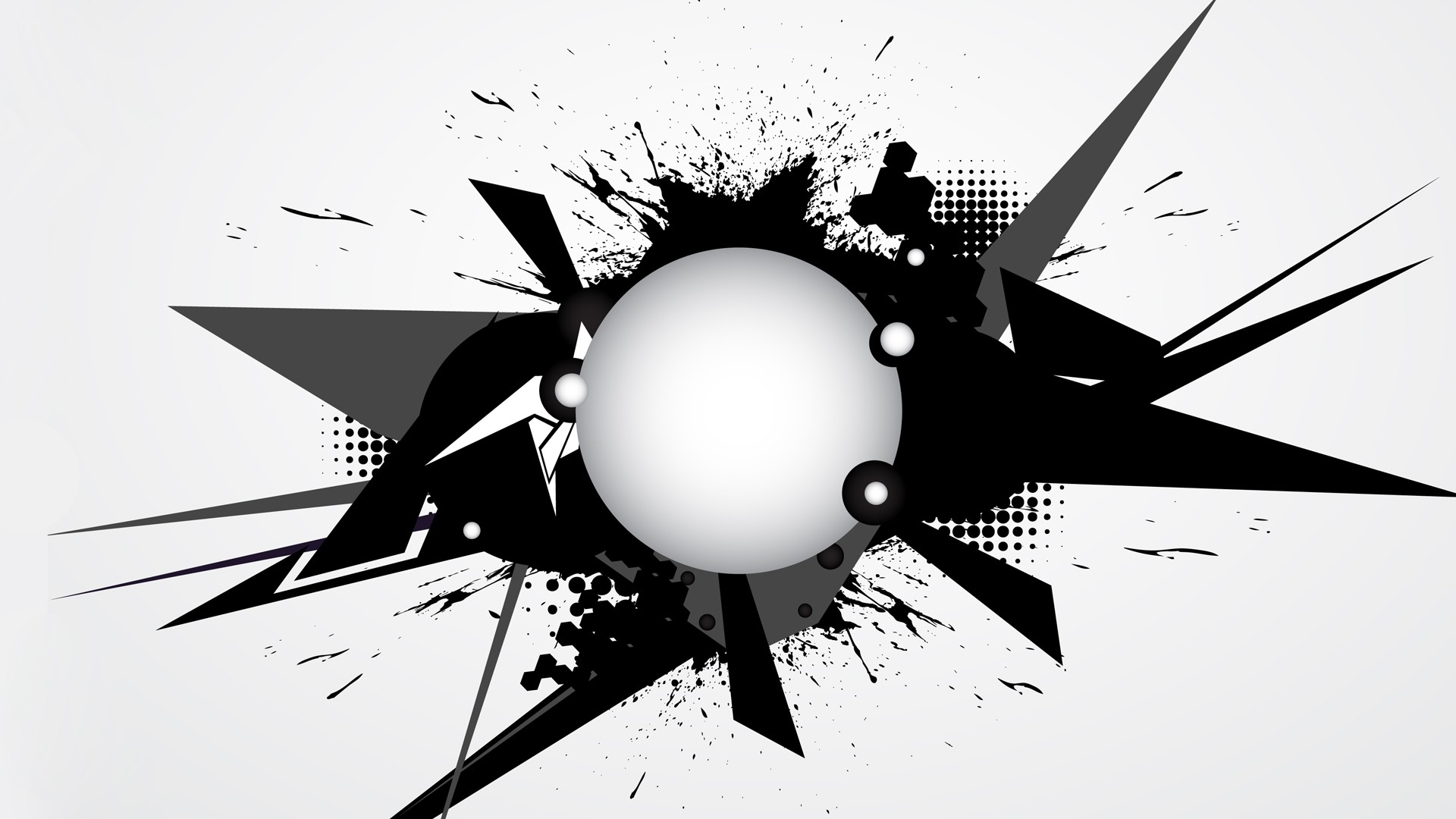 1920x1080 Abstract Black And White Vector Shapes Ink Graphics Vector Art