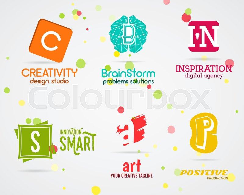 800x640 Set Of Vector Abstract Creative Logo Design. Art Studio. Abstract