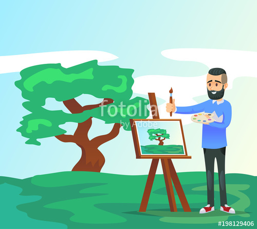 500x445 Young Artist Drawing Tree On Canvas. Male Student In Art Workshop