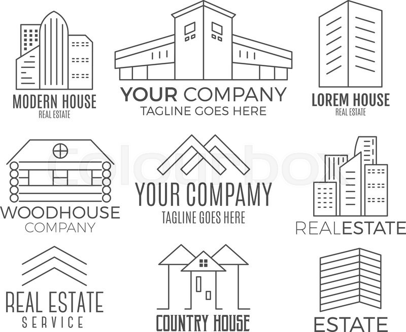 800x655 Set Of Vector House Logo Designs, Real Estate Icon Suitable For