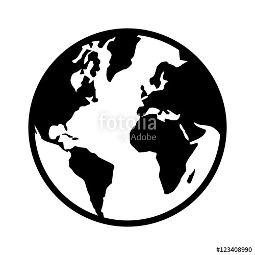 500x500 World Map Globe Or Planet Earth World Map Line Art Icon For Apps