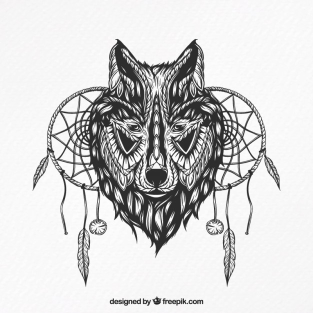 626x626 Illustration Of A Wolf With Dream Catchers Vector Free Download