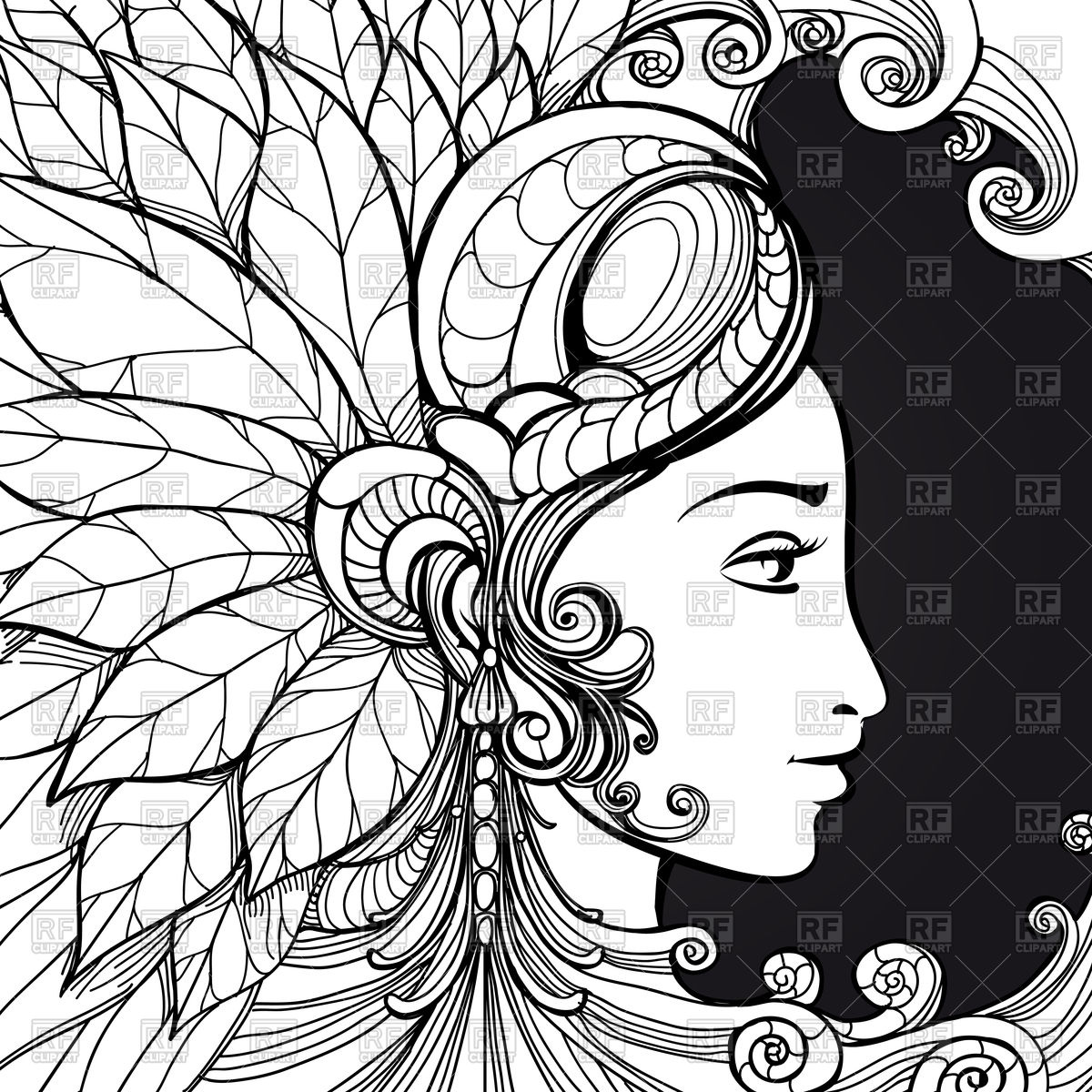 1200x1200 Zentangle Woman Face And Decorative Elements Vector Image Vector