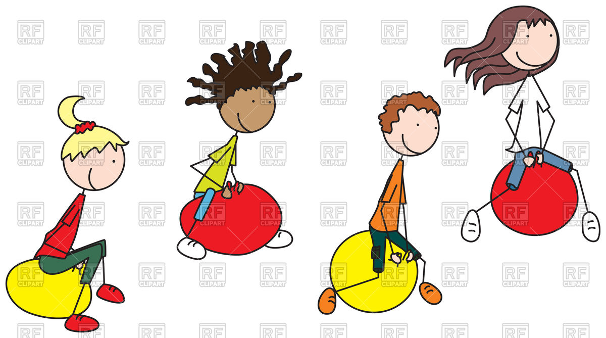 1200x669 Cartoon Illustration Of Four Kids On Jumping Balls Vector Image