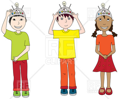 400x332 Cartoon Illustration Of Three Kids Wearing Thinking Caps Vector