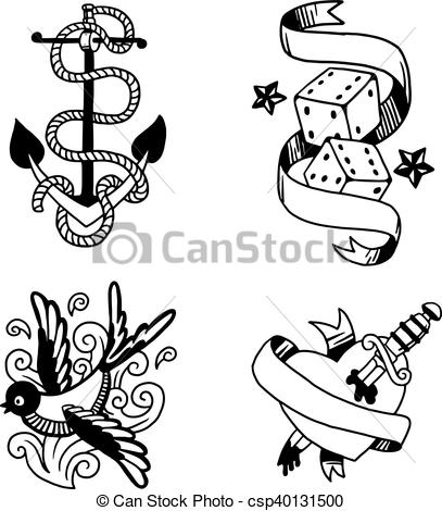 407x470 Old Vintage Tattoo Vector Illustration. Old School Tattoo Element