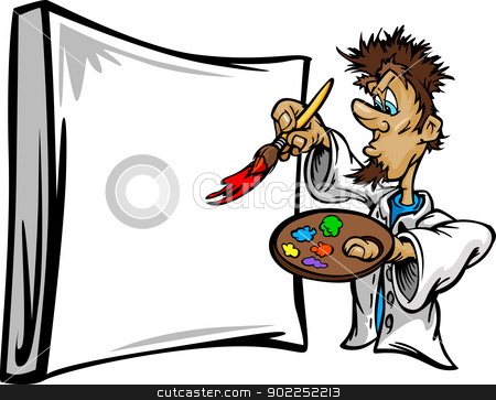 450x363 Artistic Painter Painting Canvas Cartoon Vector Illustration Stock