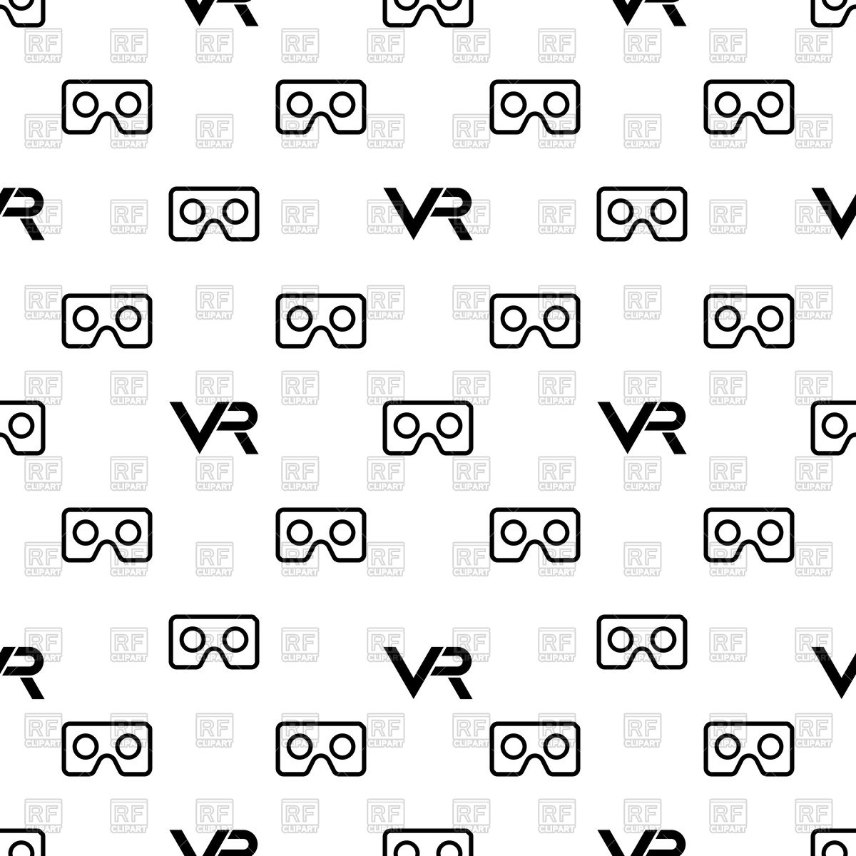 1200x1200 Seamless Black And White Pattern With Vr Logos Vector Image