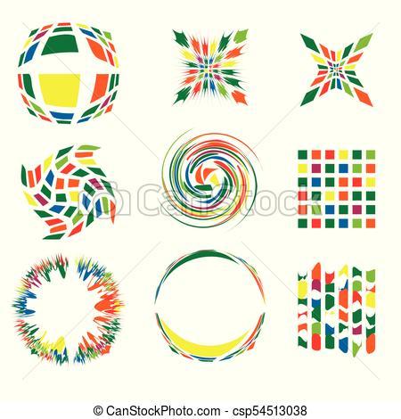 450x470 Set Of Abstract Bright Logos. Vector Illustration.