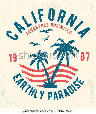 397x470 California Typography For T Shirt Print Vector Illustration Vector
