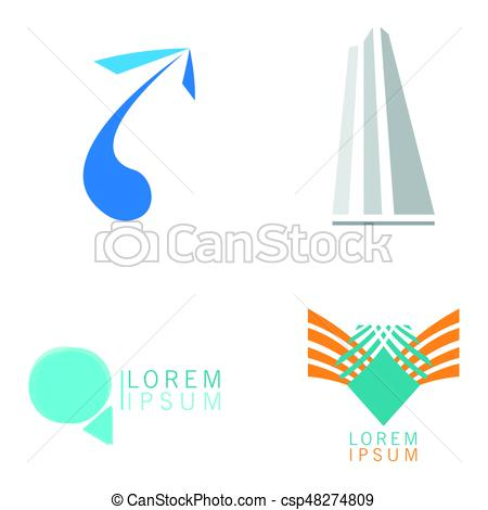 450x470 Set Of Business Logos On A White Background, Vector Illustration.