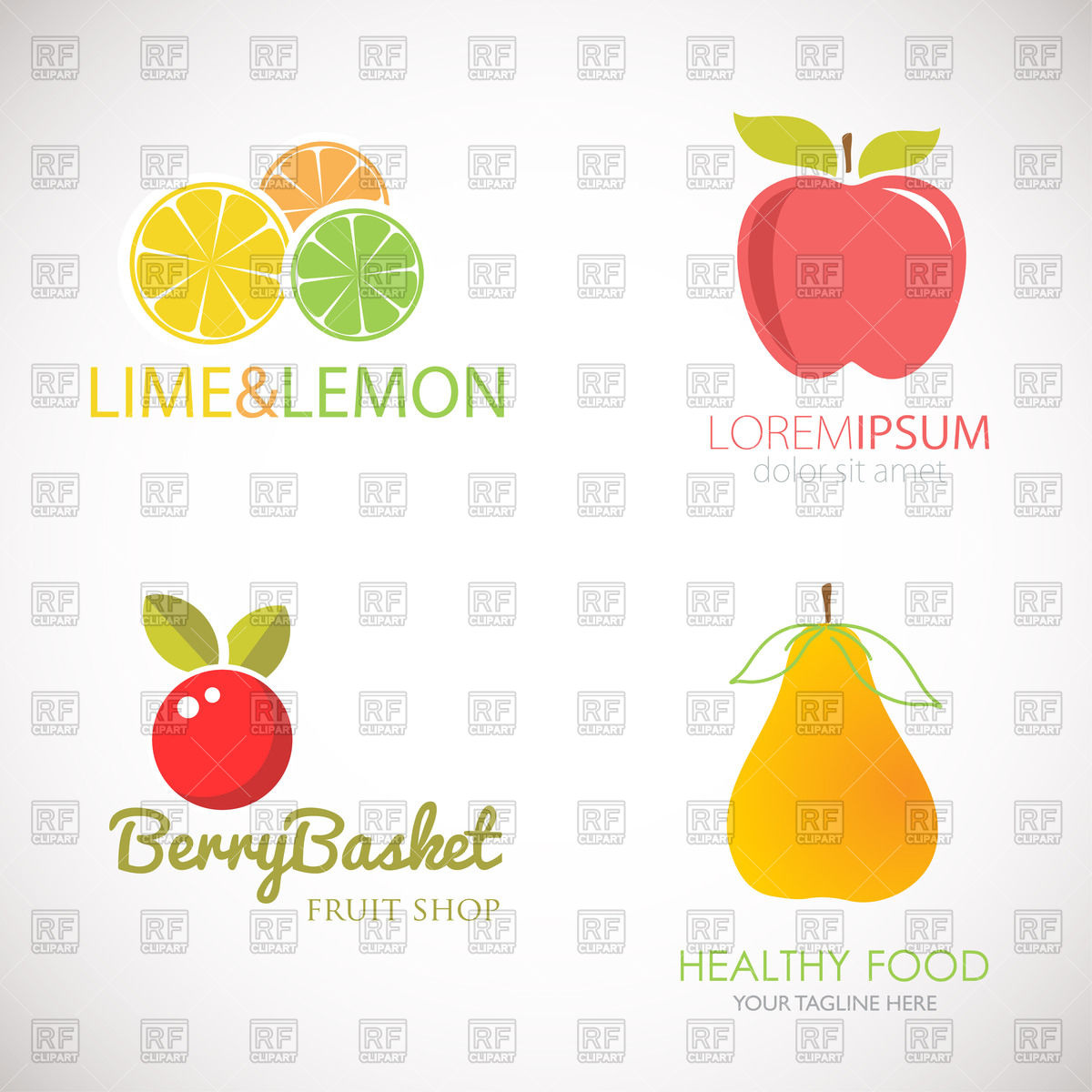 1200x1200 Set Of Logos For Fruit Organic Company, Fresh Juice Or Cocktail