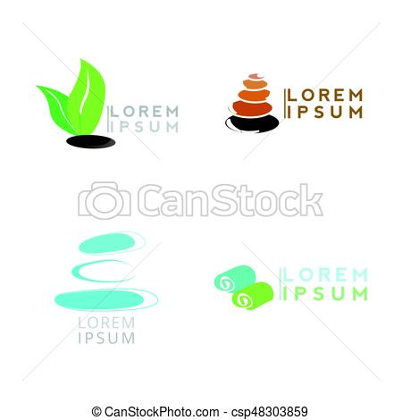 450x470 Set Of Spa Logos On A White Background, Vector Illustration.